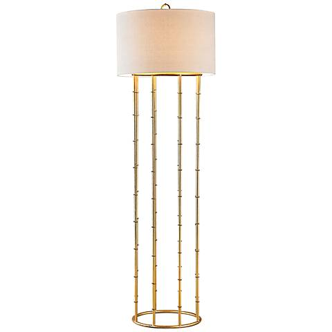 "Dimond Brunei 64"" High Gold Leaf Metal Floor Lamp"