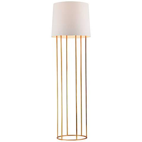 """Dimond 63"""" High Ari Barrel Frame Gold Leaf Floor Lamp"""