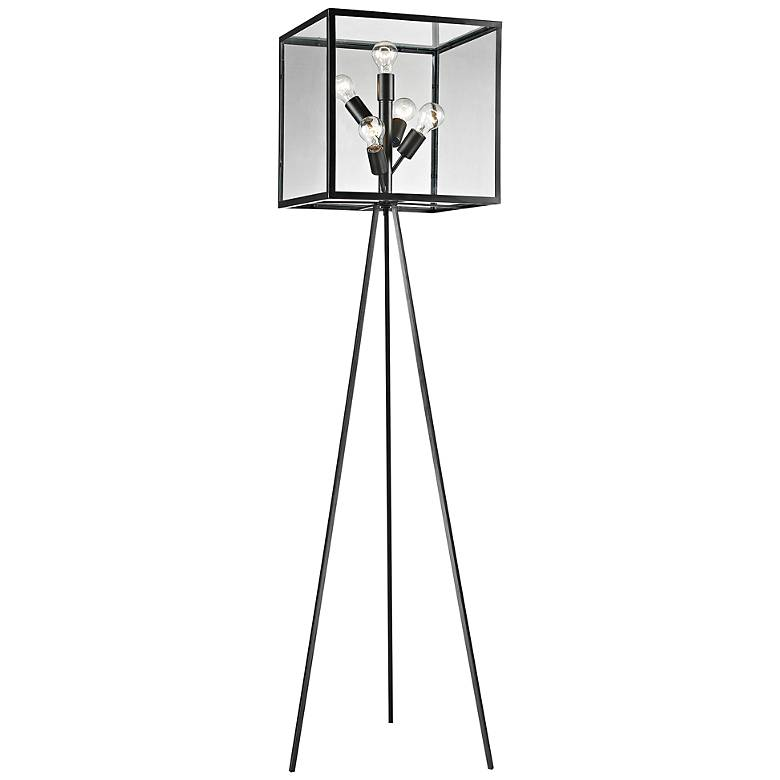 Workshop Glass Cube Aged Bronze Floor Lamp