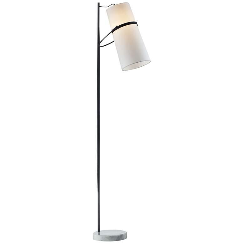 Matte Black Banded Shade Modern Floor Lamp