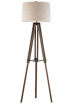 Wood floor lamps lamps plus dimond silvi wooden brace tripod floor lamp aloadofball Images