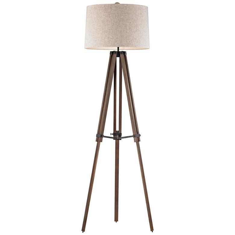 Silvi Wooden Brace Tripod Floor Lamp