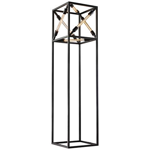 Dimond Toti Box Tube Black Metal Contemporary Floor Lamp