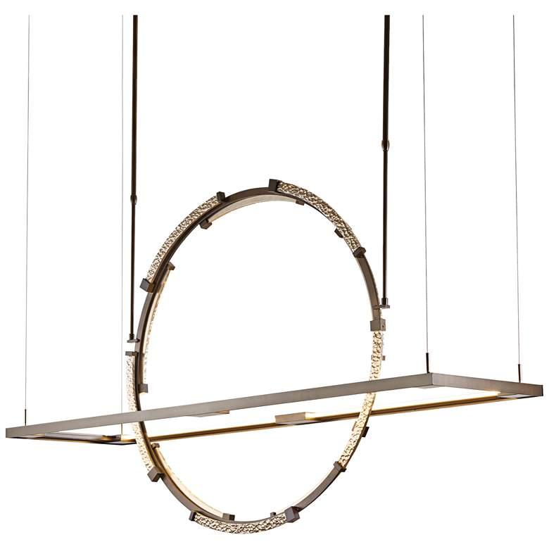 """Hubbardton Forge Theta 53 1/2""""W Bronze LED Pendant Light"""