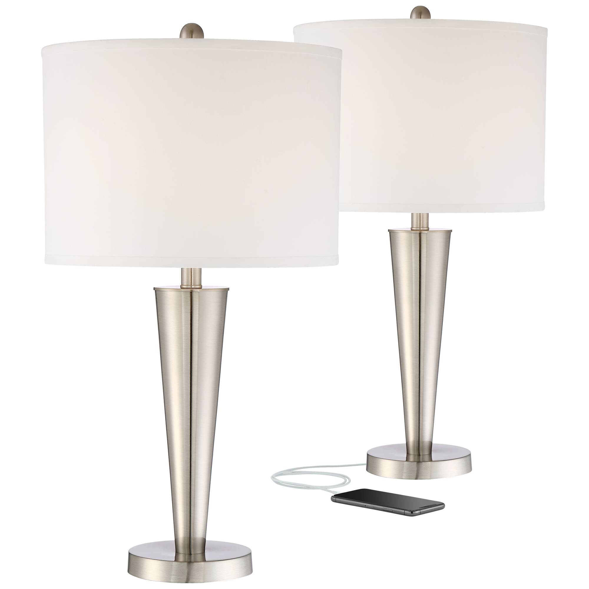 Details About Modern Table Lamps Set Of 2 With Usb Brushed Steel For Living Room