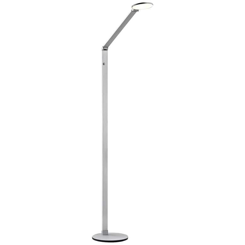 Tir Mono Disc Anodized Silver Elbow LED Floor Lamp
