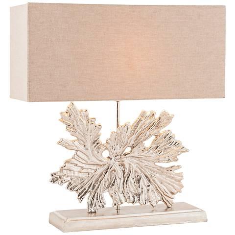 Fallen Leaf Textured Nickel Metal Table Lamp