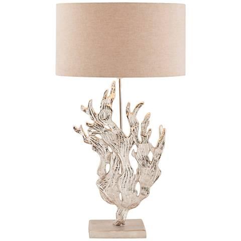 Sea Flora Textured Nickel Metal Table Lamp