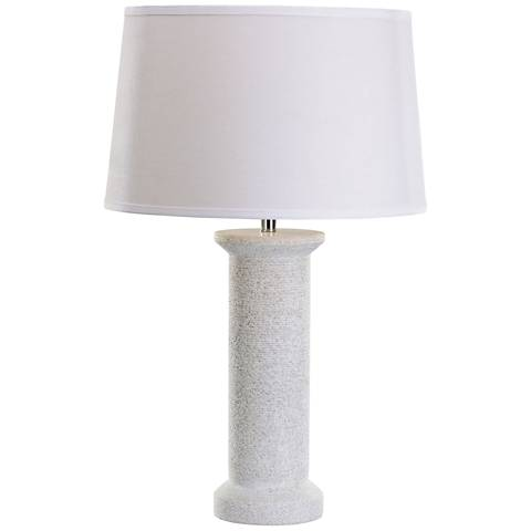 Gilson Rough Round White Marble Table Lamp