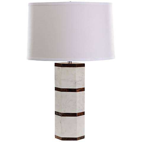 Mod White Marble and Sheesham Wood Table Lamp