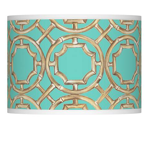 Teal Bamboo Trellis Giclee Shade 13.5x13.5x10 (Spider)