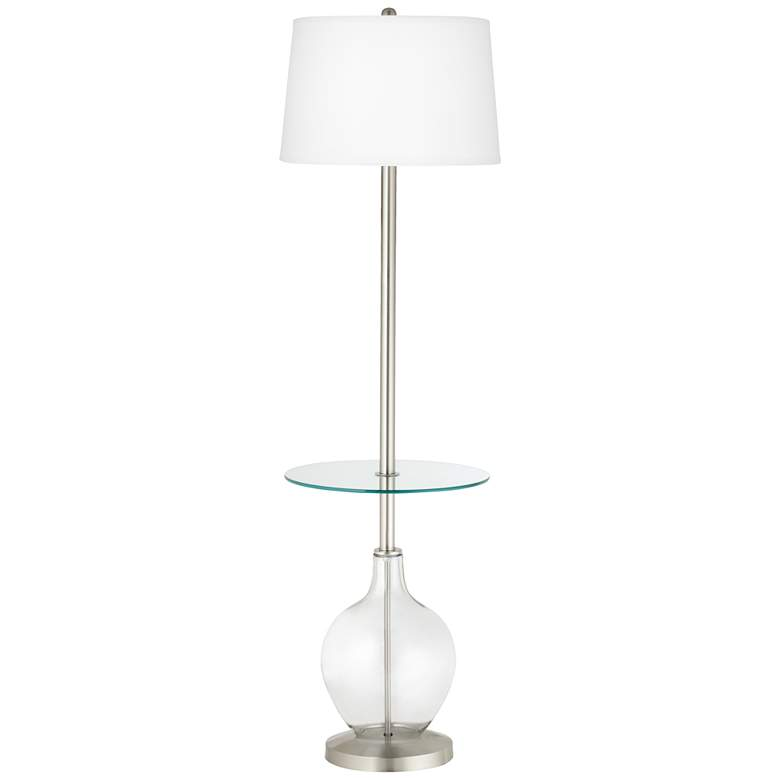 Clear Glass Fillable Ovo Tray Table Floor Lamp