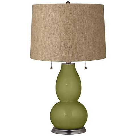 Rural Green Tan Woven Fulton Table Lamp