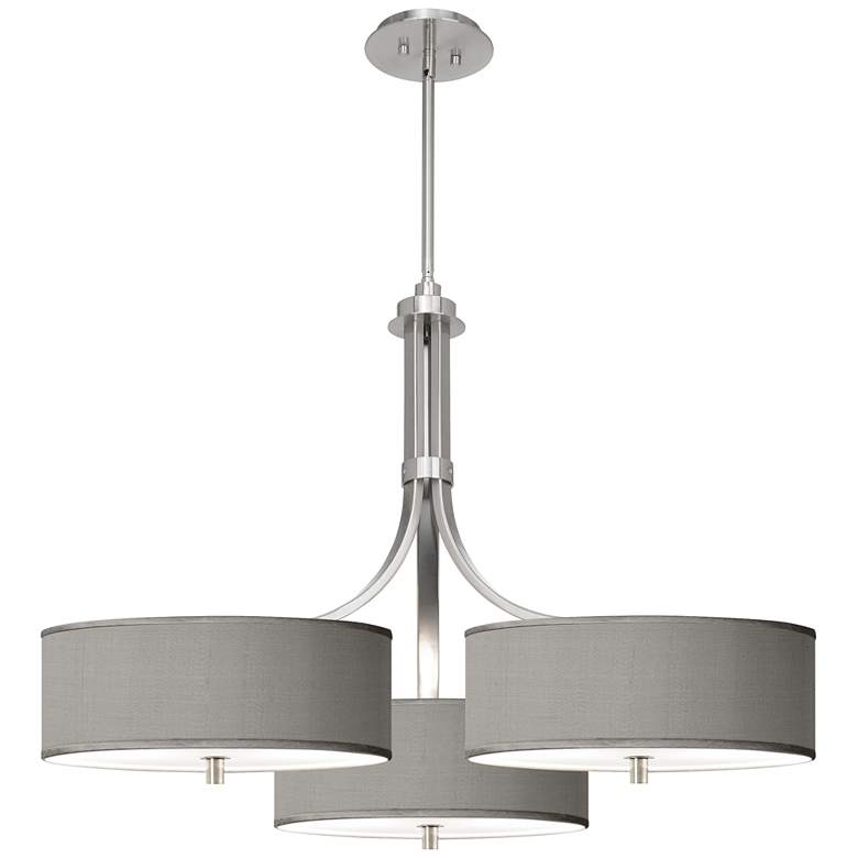 """Gray Polyester 36"""" Wide Triple Shade Pendant"""