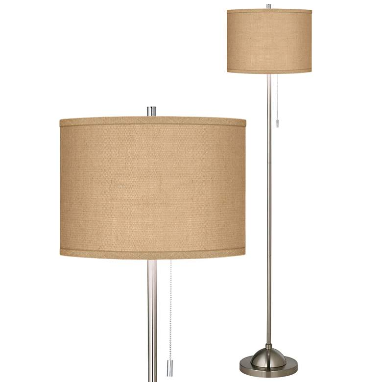 Woven Burlap Brushed Nickel Pull Chain Floor Lamp