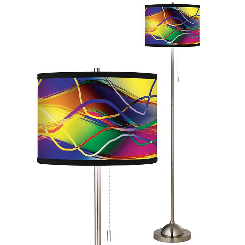 Colors In Motion Light Giclee Brushed Nickel Floor Lamp
