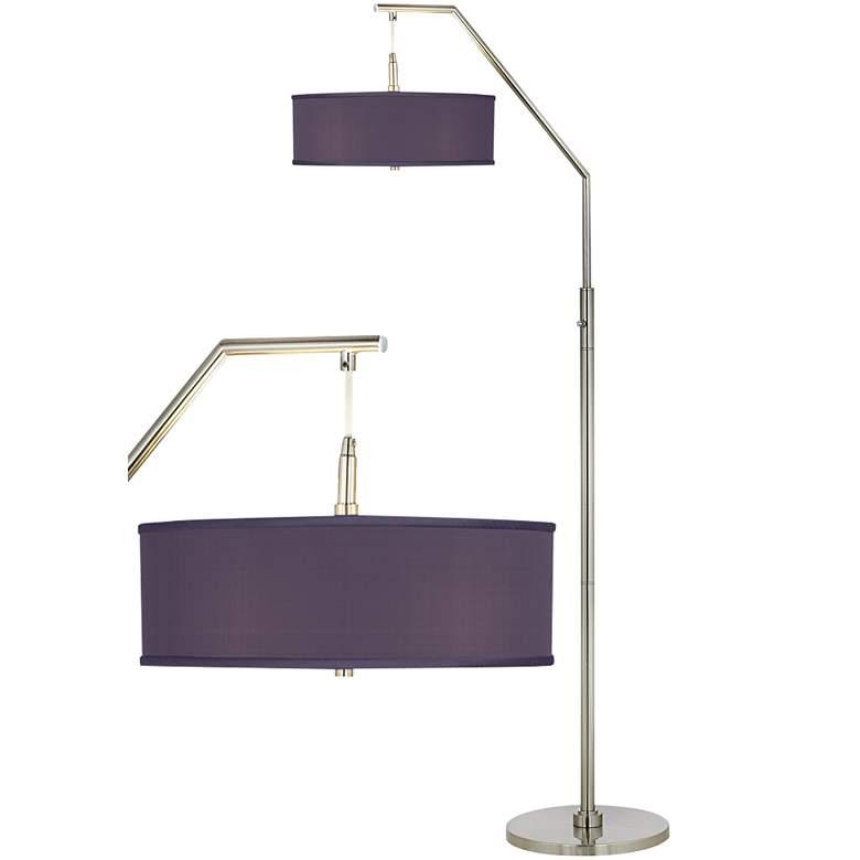 Eggplant Faux Silk Arc Floor Lamp