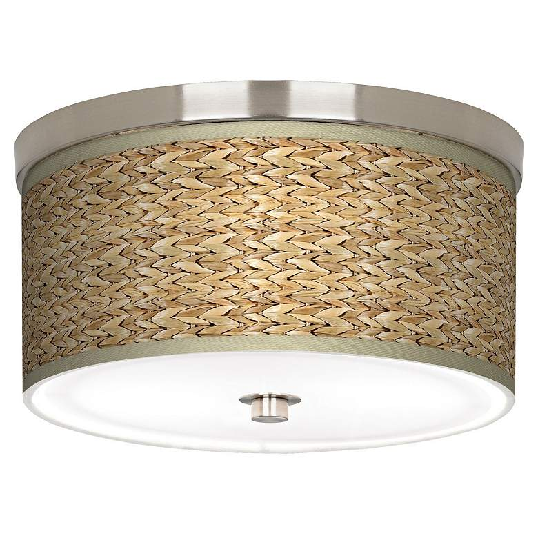 """Seagrass Print Pattern 10 1/4"""" Wide Nickel Ceiling Light"""