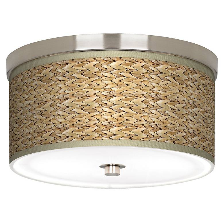 """Seagrass Giclee Nickel 10 1/4"""" Wide Ceiling Light"""