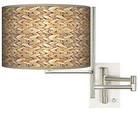 Plug-in Swing Arm Wall Light with Seagrass Pattern Shade