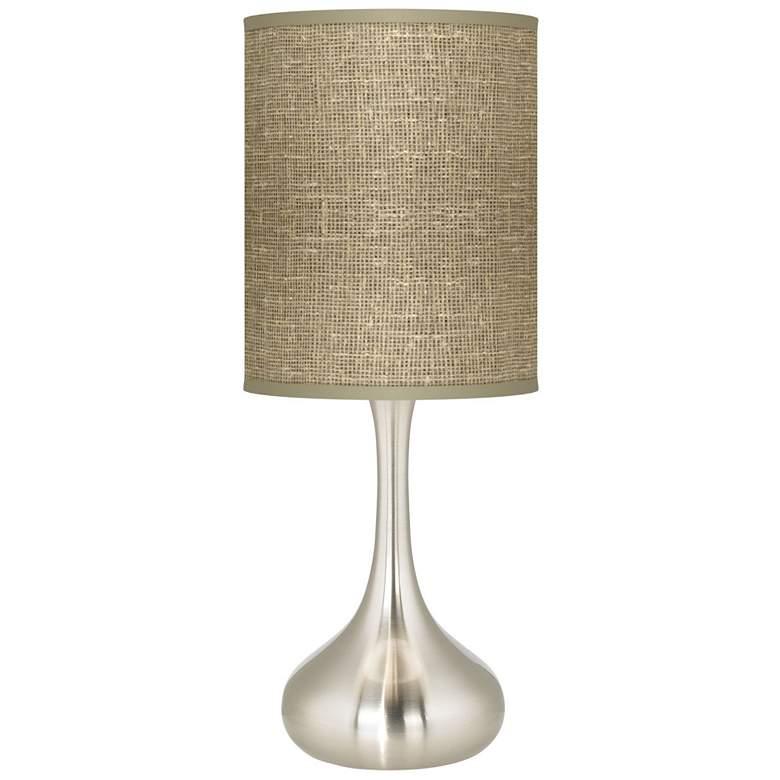 Burlap Print Giclee Kiss Table Lamp