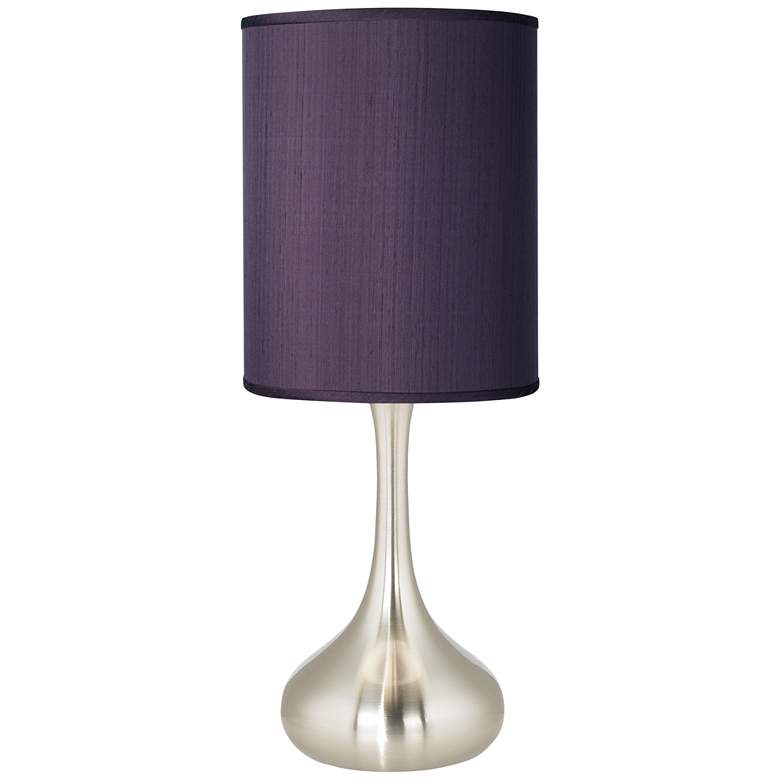 Eggplant Faux Silk Brushed Nickel Droplet Table Lamp