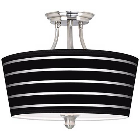 Bold Black Stripe Tapered Drum Giclee Ceiling Light