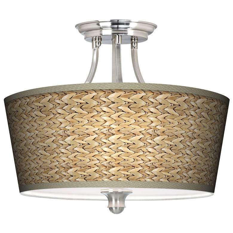 "Seagrass Print Pattern Tapered Shade 18"" Wide Ceiling Light"