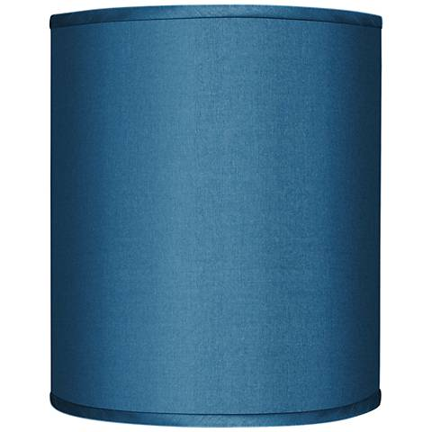 Blue Faux Silk Drum Lamp Shade 10x10x12 (Spider)