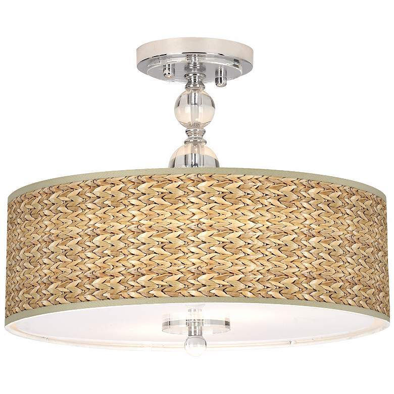 "Seagrass Print Pattern 16"" Wide Semi-Flush Ceiling Light"