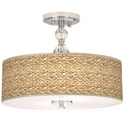 "Seagrass Giclee 16"" Wide Semi-Flush Ceiling Light"