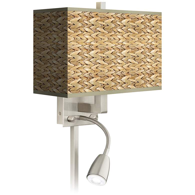 Seagrass Print Pattern LED Reading Light Plug-In Sconce