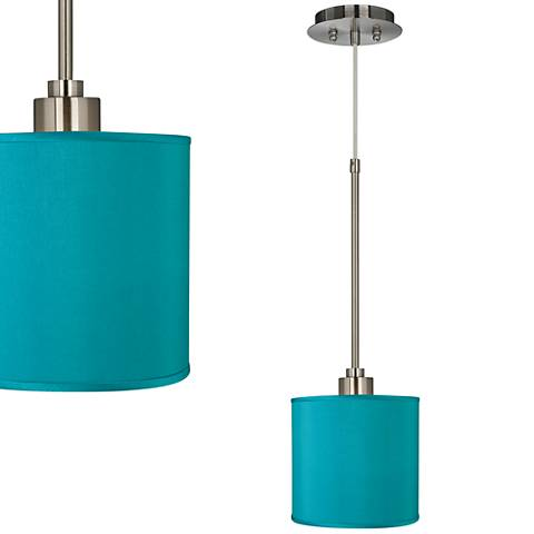 "Teal Blue 7"" Wide Faux Silk Mini Pendant Light"