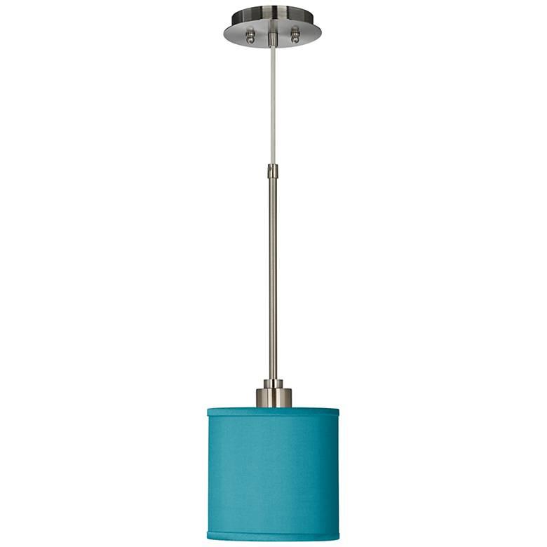 "Teal Blue 7"" Wide Faux Silk Mini Pendant Light"