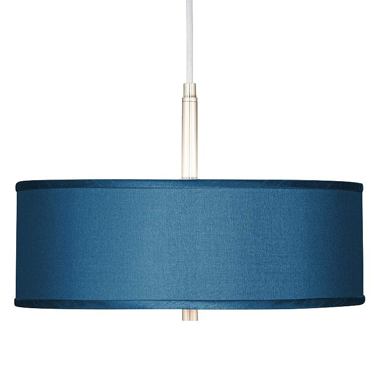 "Blue Polyester 16"" Wide Pendant Light"