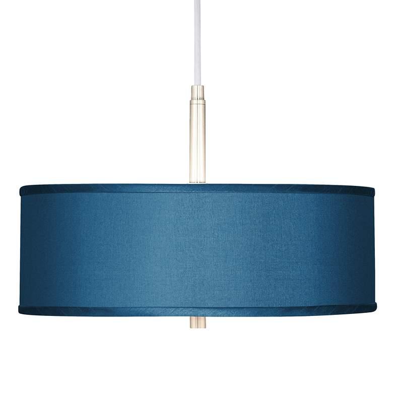 "Blue Polyester 16"" Wide Pendant Light"