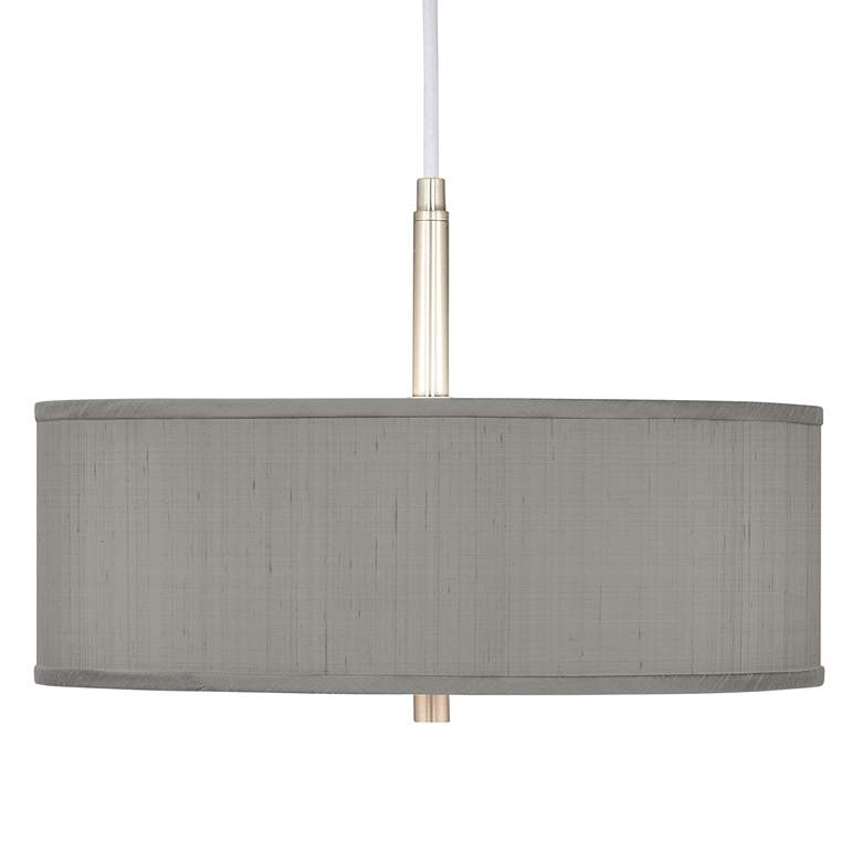 "Gray Polyester 16"" Wide Pendant Chandelier"