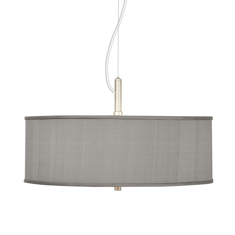 "Gray Textured Faux Silk 20"" Wide Pendant Chandelier"