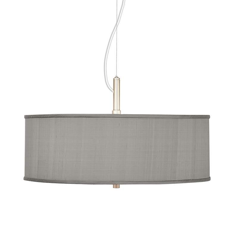 "Gray Textured Faux Silk 20"" Wide Modern Pendant Chandelier"