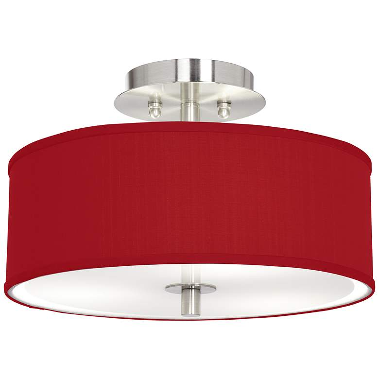 """Red Textured Faux Silk 14"""" Wide Ceiling Light"""
