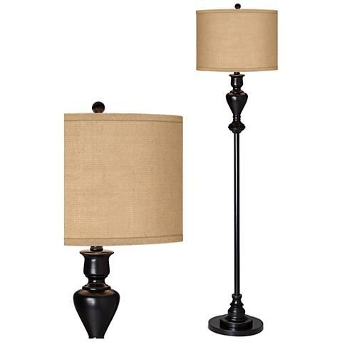 Woven Burlap Black Bronze Floor Lamp