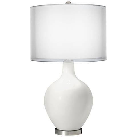 Winter White Double Sheer Silver Shade Ovo Table Lamp