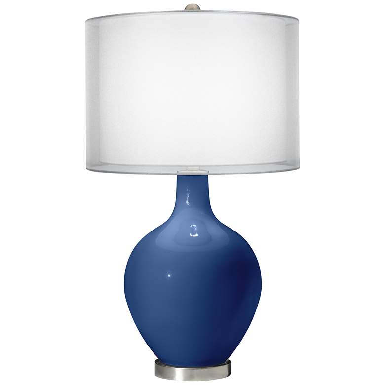 Monaco Blue Double Sheer Silver Shade Ovo Table Lamp