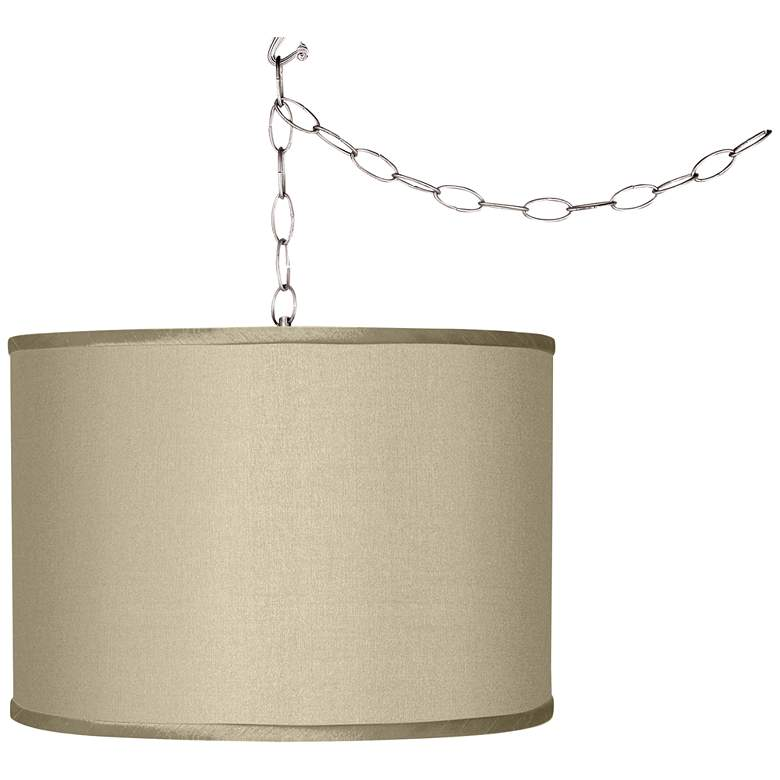 Swag Style Sesame Faux Silk Shade Plug-In Chandelier