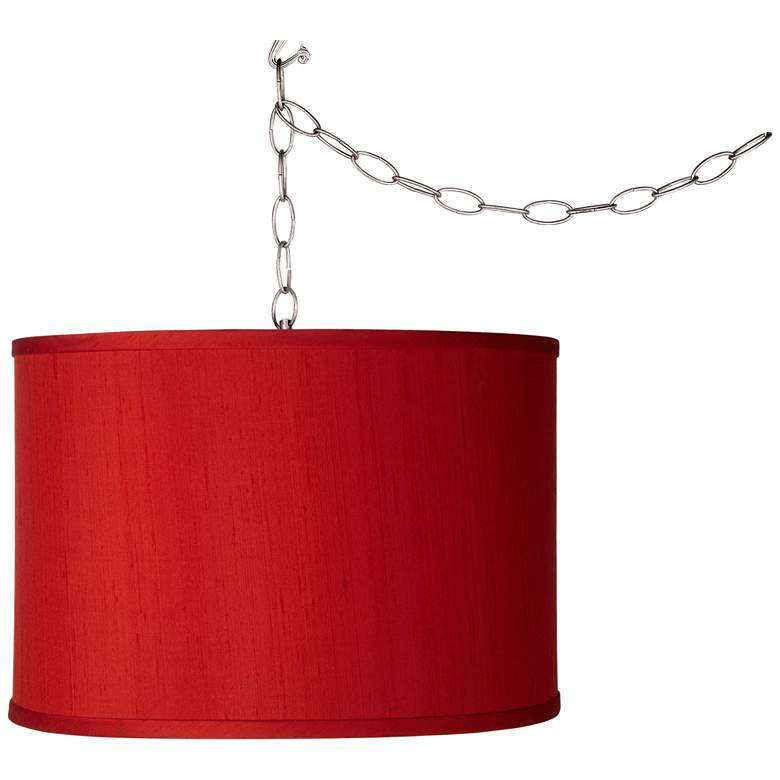 Swag Style Red Textured Faux Silk Shade Plug-In Chandelier