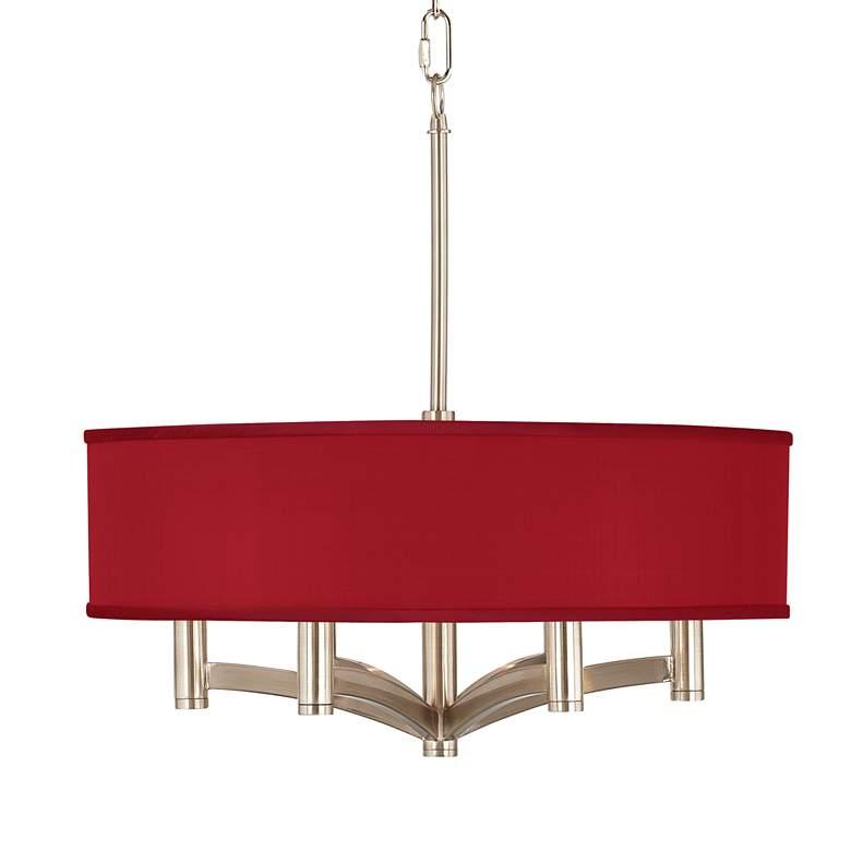 Red Textured Faux Silk Ava 6-Light Nickel Pendant Chandelier
