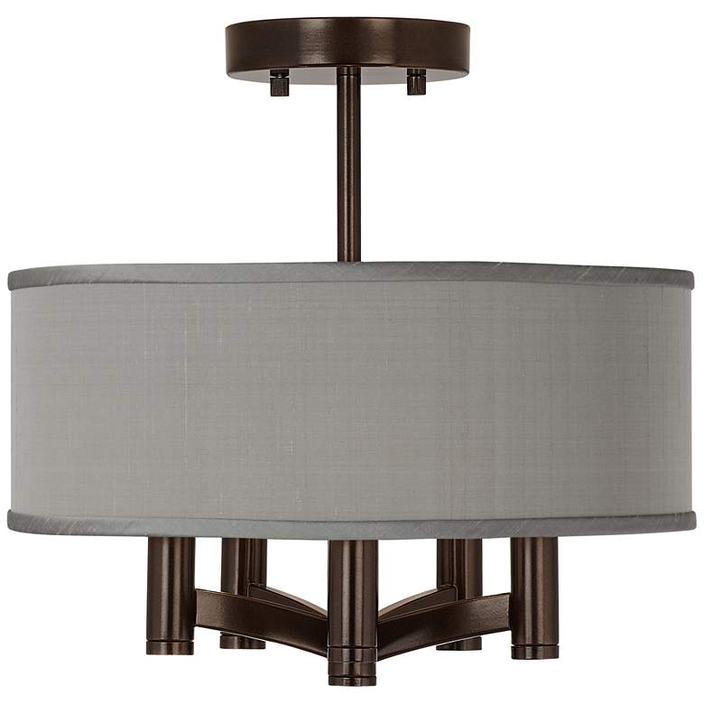 Gray Faux Silk Ava 5-Light Bronze Ceiling Light