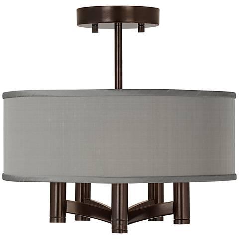 Gray Faux Silk  Ava 5-Light Bronze Ceiling Light