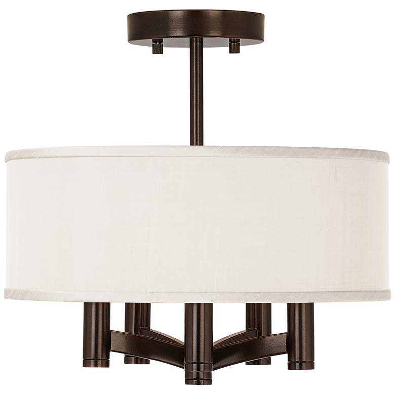 Cream Faux Silk Ava 5-Light Bronze Ceiling Light