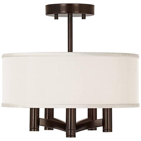 Cream Textured Silk Ava 5-Light Bronze Ceiling Light